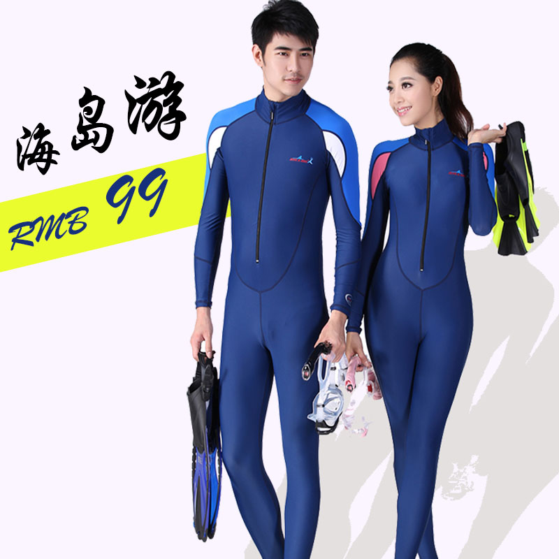 Diving suit couple female split sun protection clothing long sleeve large size one-piece swimsuit surf clothing jellyfish clothing male snorkeling suit