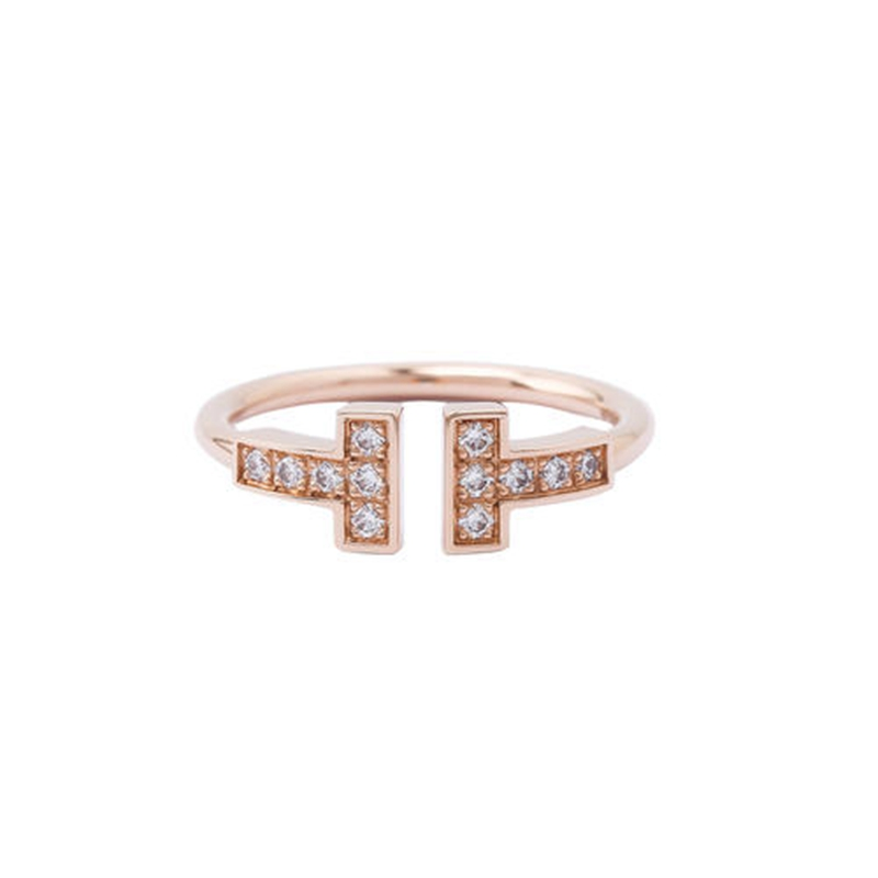 Tiffany/Tiffany ring women's double T opening 18k gold three diamond narrow version signature ring male couple ring