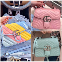 Gucci / Gucci women's bag 20 new Marmont macarongucci postman's bag One Shoulder Messenger Bag