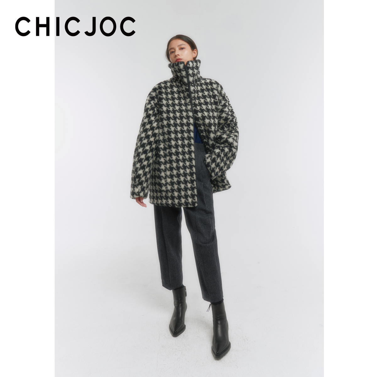 CHICJOC King Fried Teddy G-CCI original Italian import three-dimensional spiral cut leather pull-up short coat