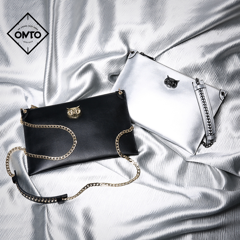 Omto envelope lady 2019 new style slant-hung large capacity black hand single shoulder chain bag small mass texture