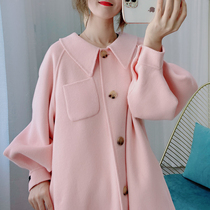 Age-reducing cherry blossom pink doll collar A-shaped double-sided wool coat female long 2020 new loose wool coat