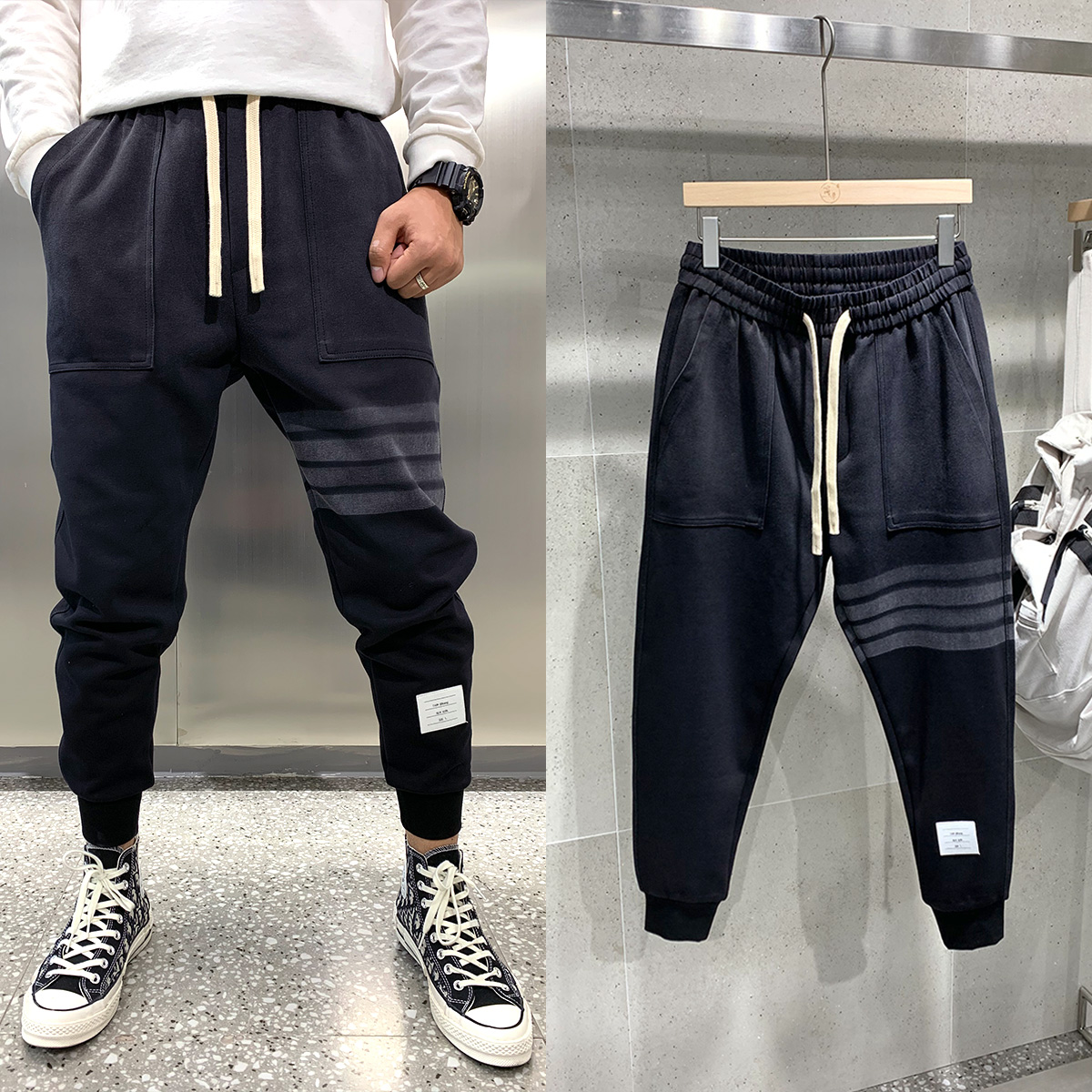 Sports wind casual pants men TB autumn and winter new water wash do old gradual layer color tie pants youth plus velvet long pants