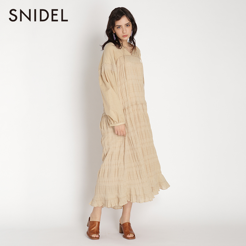 Snidel2020 spring and summer New Forest Fairy solid lace up bubble sleeve Pleated Dress swfo201031