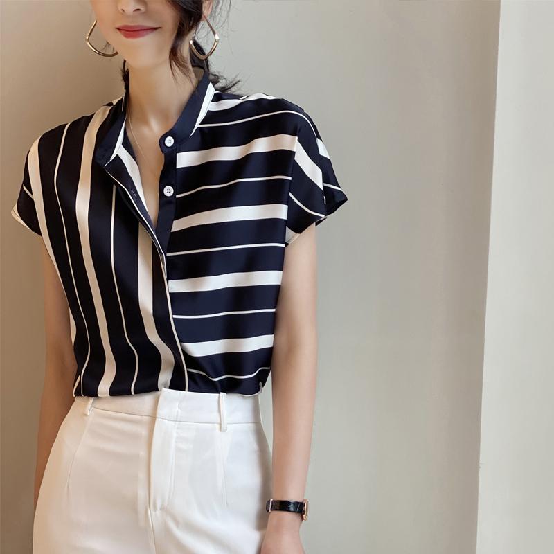 European irregular stripes chiffon short-sleeved shirt women 2021 spring summer new temperament stand-up collar short-sleeved thin blouse