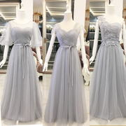 Shipping Korean shoulder long dress evening dress bridesmaids sister dress wedding band, presided at the banquet