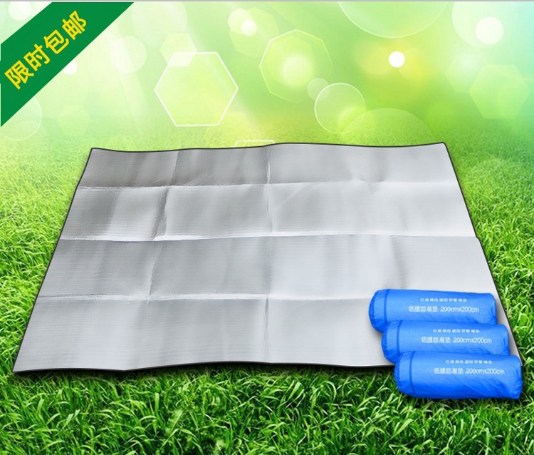 Moistureproof pad outdoor picnic mat single double tent sleeping pad aluminum film 3 people -4 people thick camping beach mat