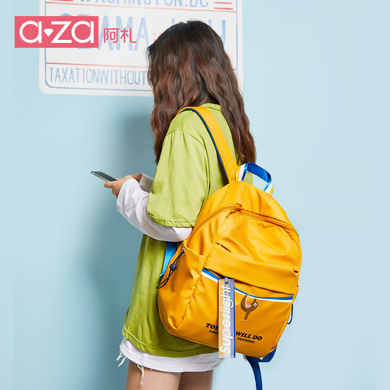Aza large capacity shoulder bag woman 2019 new ins Korean version backpack junior high school students Backpack Travel Bag