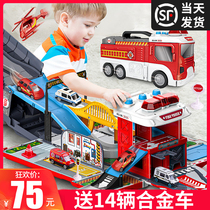 Childrens toy car boy Puzzle Multi-Functional all kinds of car set baby Fire car engineering parking lot 3