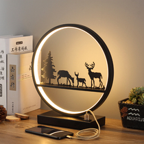 Table lamp bedroom bedside lamp simple modern Nordic American creative deer living room touch remote control dimming round lamp