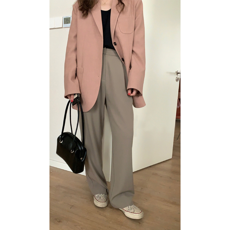 HEYGIRL black brother high waist thin straight suit pants female Korean version of loose-legged casual trousers 2021 spring