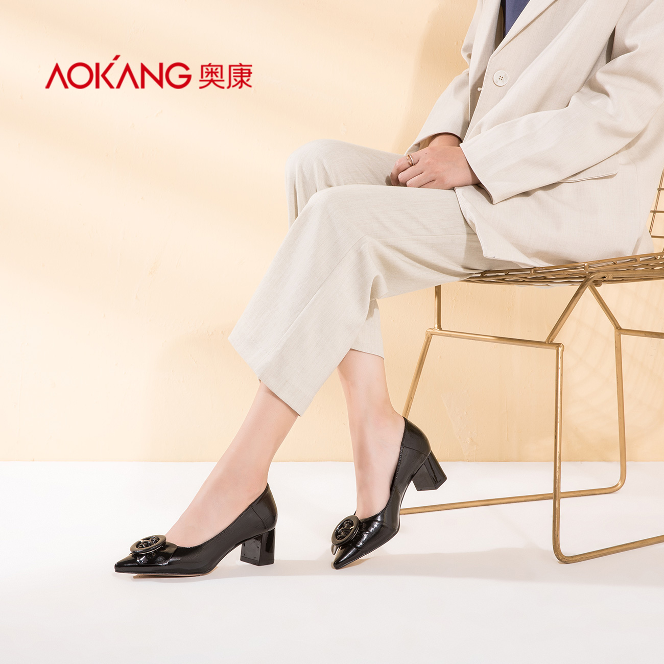 Aokang women's shoes pointed, shallow, high-heeled, simple fashion, commuting, heavy-heeled women's single shoes in autumn