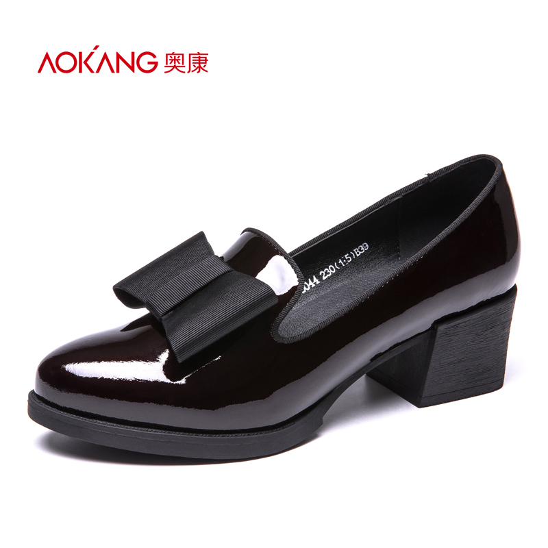 Aokang women's shoes bow sweet and thick with fashion thick with square root daily shoes women's small shoes