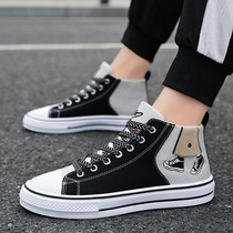 Wild casual high-top mens shoes sports shoes 2020 spring new canvas shoes Korean version of the trend of mens shoes