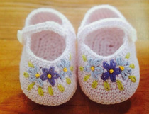 Embroidered baby shoe crochet illustration shoe drawing wool braided hand DIY tutorial burst recommended