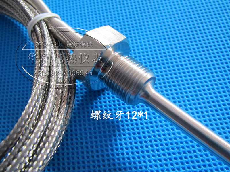 Threaded Probe K Stainless Steel Temperature Control Probe PT100 Thermal Resistance Thermocouple Inductive Temperature Line M12*1