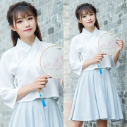 The traditional Chinese elements improved daily Hanfu college wind small fresh female summer coat Duijin art gowns