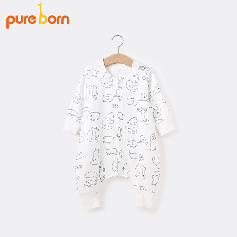 Pureborn newborn baby home sleeping bag spring and summer pure cotton gauze breathable split leg type male and female baby kick proof quilt