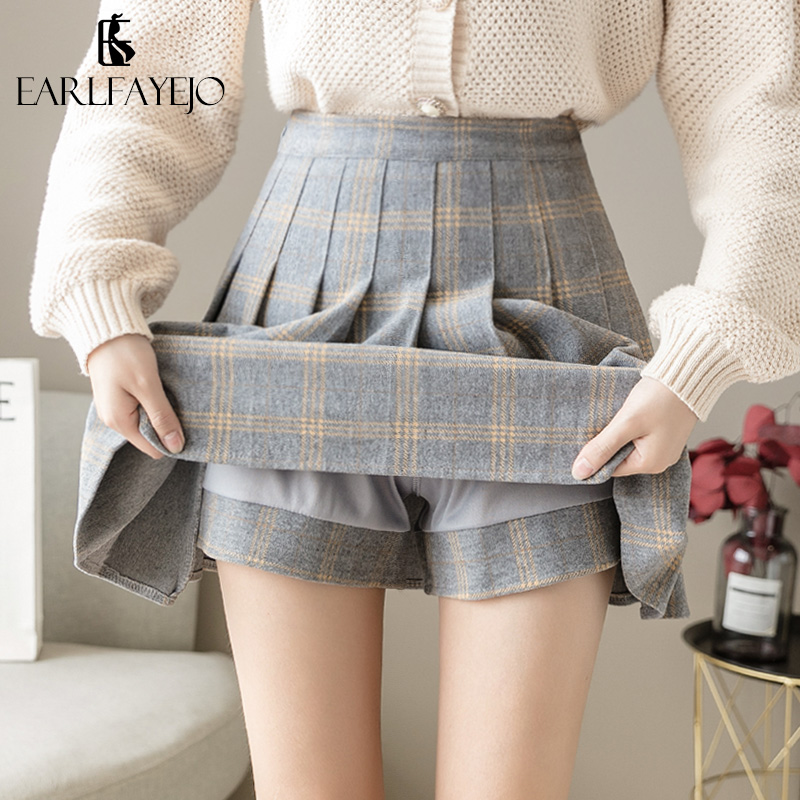 Plaid woolen half-length skirt women autumn and winter 2020 new winter with sweater pleated a-line skirt winter skirt