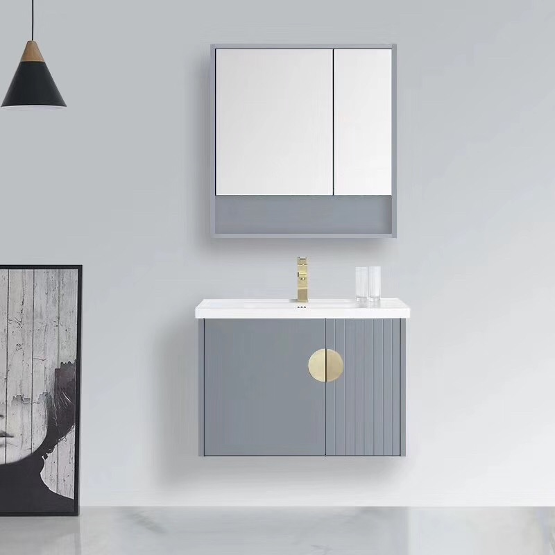 Nordic style bathroom cabinet combination of grey small household bathroom washstand and paint-free solid wood washbasin cabinet combination