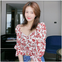 Star White Deer with a square collar crushed flower bubble sleeves top female French-style gulu navel lotus leaf side chiffon shirt