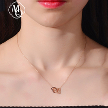 18K color gold necklace Girls  Day Tanabata Valentines Day gift to send girlfriend love-shaped double heart rose light luxury niche