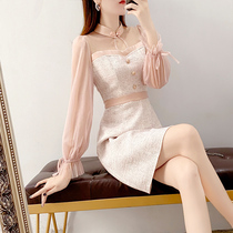 Pink long sleeve small fragrant wind dress spring and autumn dress 2021 new female gentle elegant socialite small skirt