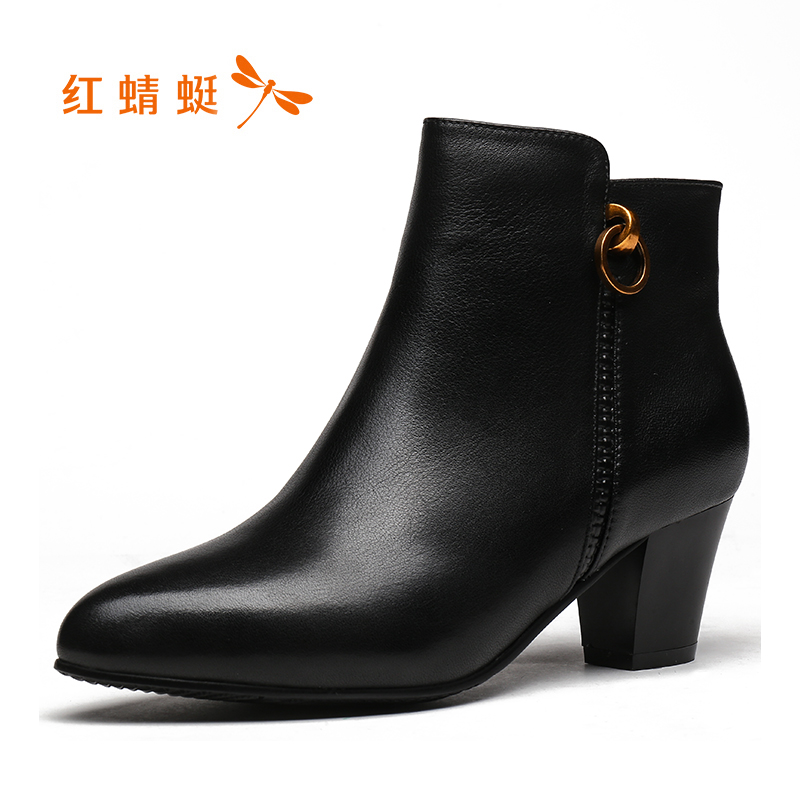 Red Dragonfly Boots Women 2018 Winter New Fashion Buckle Women's Boots Elegant Pointed Boots Thick with Women's Shoes Single Boots