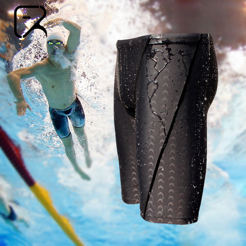 Flying Fish Swimming Trousers, Men's Long Five-point Professional Fast-drying Swimming Suit, Speed Sports Large Swimming Suit to Avoid Embarrassment