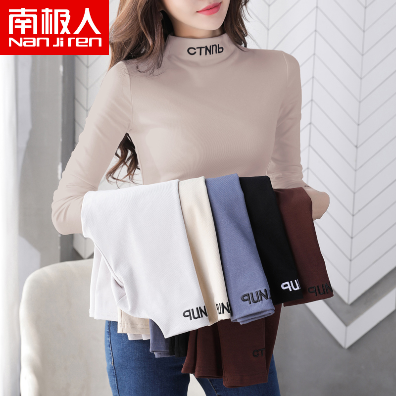 Semi-high neck with plush thick bottoms womens 2020 new autumn winter 100 long-sleeved T-shirt foreign pie top