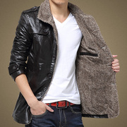 Special offer every day in winter men's leather coat middle-aged father put leather jacket thick PU leather young men with cashmere