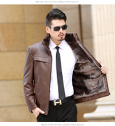 Fur and leather cashmere thickened male middle-aged father put leather loose size men's winter coat