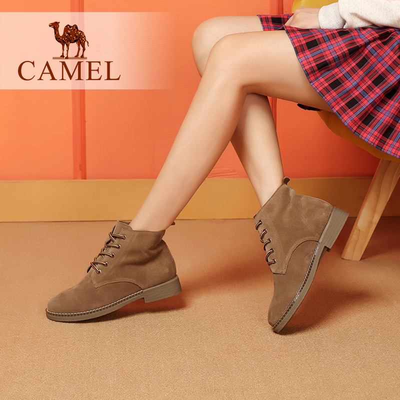 Camel women's shoes 2018 winter new Martin boots wild fashion thick with leather boots low heel short boots women's boots