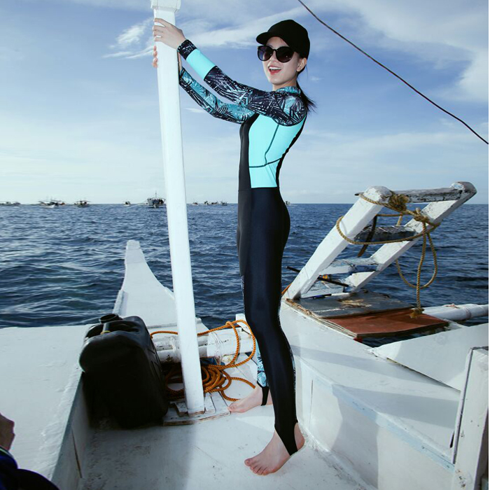 South Korean diving suit swimsuit, female and male couples'split long sleeve jellyfish suit with sunscreen, surfing and fast-drying snorkeling suit