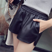 2017 new winter Pu autumn and winter loose waisted shorts pants female Korean yards leisure wear wide leg pants