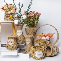 草编织花篮花瓶摆件手提客厅插花满天星干燥花北欧现代简约藤编花盆