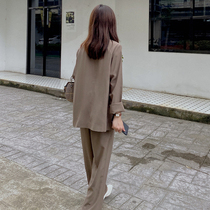 LOSTSOULS Brown Suit Womens Early Autumn Two-Piece Temperament Thin Dress Thin Small Suit Jacket