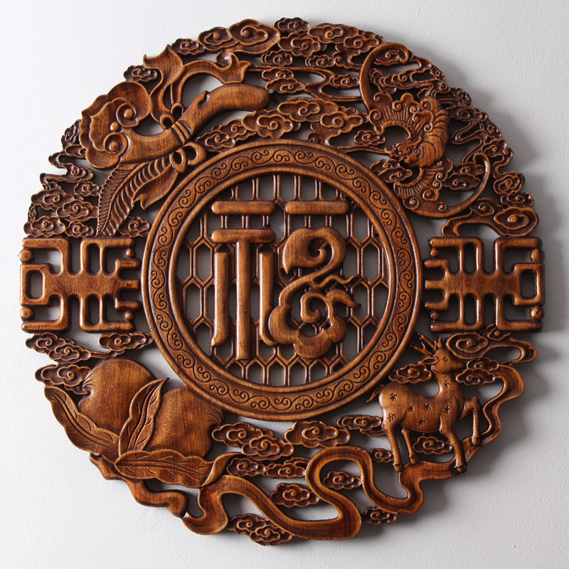 Dongyang wood carved camphor hanging round Chinese living room decorative painting background wall solid wood hollow wall hanging home and Fushun