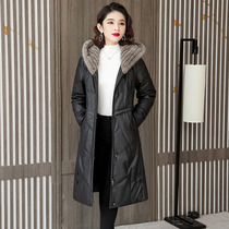 Leather down jacket womens long 2021 Winter new mink woven hooded sheep leather slim coat