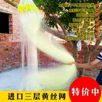 Three-layer fishing net with sticky net and thick fishing net with sticky net. Crucian carp net with sticky net and yellow wire net