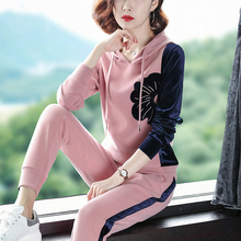 Autumn Golden Velvet Casual Wear Sports Suit Female Spring and Autumn Fashion Autumn Wear 2019 New Westernized Knitting Two-piece Suit