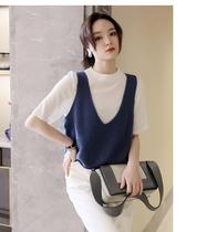 Sweater vest small vest women 2021 new folding V-neck outer shoulder short cashmere sweater