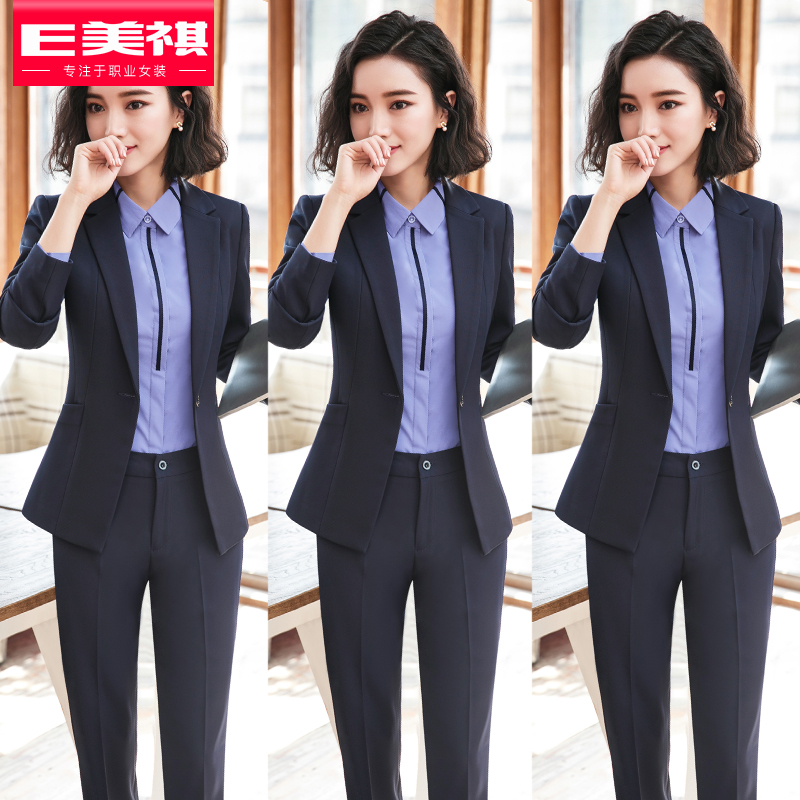 Professional suit suit female autumn and winter new fashion temperament goddess Fan work clothes business is dressed in front of the work clothes