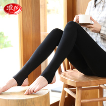 Langsha leggings female pantyhose thick spring and Autumn Winter thin cashmere step foot black meat color plus cashmere thickening even feet autumn