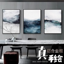 Pure hand-painted living room tri-decorative painting abstract sky quadruple painting modern simple French light luxury Monet abstract painting
