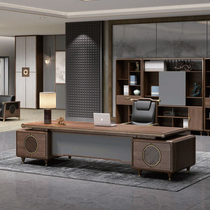New Chinese style solid wood new office boss desk General manager big desk President table Simple modern table and chair combination
