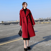 2020 autumn winter new Hepburn wind red double-sided coat hair coat female medium-length version of the slim temperament over the knee