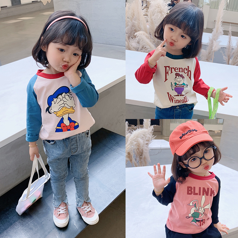 Pure cotton children's clothing girls 2020 spring clothing new children's cartoon Raglan long sleeve T-shirt middle and small children's bottoming shirt baby