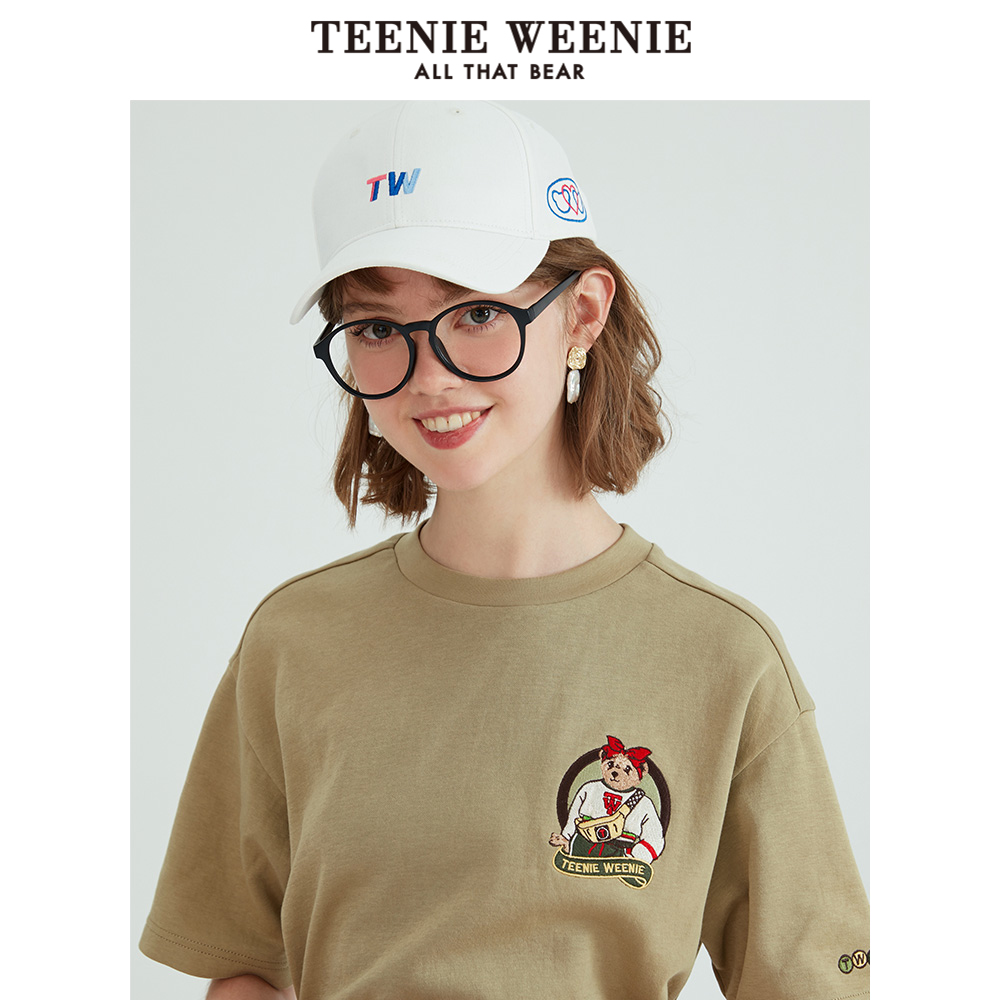 Teenie weenie bear letter short sleeve round neck T-shirt women 2020 spring new women's loose top trend