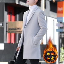 Windshield mens Korean version 2020 new sub coat tide winter thickened hair coat mens middle-length version of spring and autumn clothes